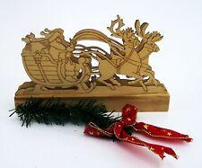 Tisch Deko Weihnachten Santa Claus mit Rentieren beleuchtet Holz LF Design