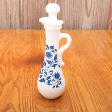 Avon White Milk Glass Genie Bottle Pitcher With Blue Flowers