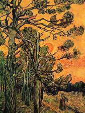VINCENT VAN GOGH PINE TREES AGAINST A RED SKY WITH SETTING SUN ART PRINT 2866OM