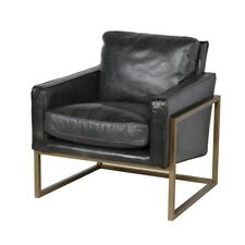 """32"""" Tall Occasinal Chair Solid Top Grain Leather Brass Finished Iron Metallic"""