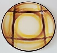 "Vernonware Organdie Round Platter Chop Plate 12"" Brown Yellow Hand Painted USA"