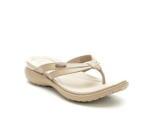 Women Crocs Capri Flip Flop Sandal 205797-27O Tumbleweed Cobblestone Authentic