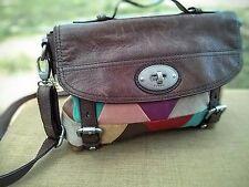 Fossil Long Live Vintage Purse / Shoulder Bag Adj. Multi-Color & Brown Leather