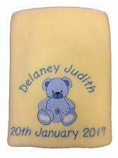 PERSONALISED BABY BLANKET, PINK OR BLUE TEDDY BEAR