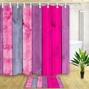 Pink and Red Wooden Shower Curtain Set Bathroom Waterproof Mildew Resistance