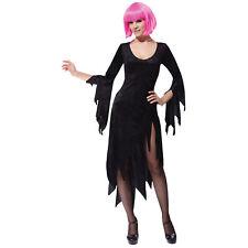 Womens Black Siren Dress Ladies Vampire Vampiress Fancy Dress Costume size 10-14