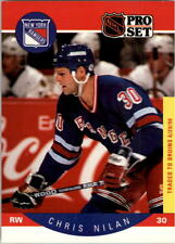 1990-91 PRO SET HOCKEY CHRIS NILAN W/ TRADED STRIPE CARD #205 NMT/MT-MINT