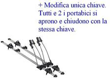 2 Portabici porta bici biciclette Thule Freeride 532 + Modifica unica chiave