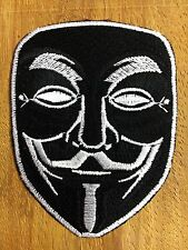 """Black"""" Vendetta Halloween Anonymous Fawkes Guy Mask Embroidered Iron on Patch"""