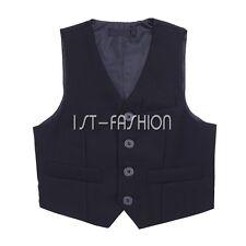 Kid Boys Gentleman Plaid Formal Suit Vest Waistcoat Tuxedo Wedding Party Outwear