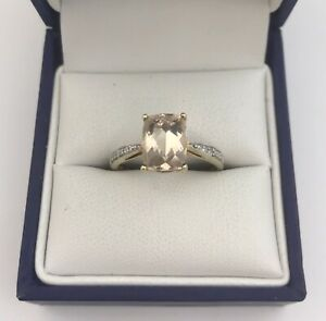 Lovely 9ct Gold, Pale Pink Gem & Diamond Ring. Size N1/2