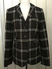 ZARA Women Wool Brown Check Elbow Patches Blazer Jacket UK12 EUR40