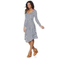 Liz Lange Sz S Asymmetric Blu/White  Striped V-Neck Knee Length Dress NWT