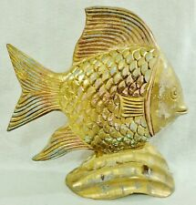 "Large Vintage 14"" Carved Wood Wooden Gold Gilt Pastel Gold Fish Figurine Statue"