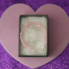 Bracelet With Rose Quartz Gem And Pink Crystal  6.5 In. Long 925 Silver Clasps
