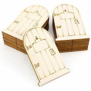 set of 25 Laser-Cut wooden fairy faerie elf doors unpainted with plaque S