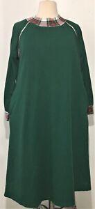 Vintage Pl Sz 22/24 Only Necessities Dark Green Warm Nightgown House Dress VGUC