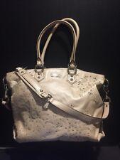 Coach Ashley Laser Cut Leather Handbag Beige