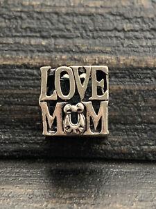 925 Silver European Bracelet Charm -  Love Mum     #5/3