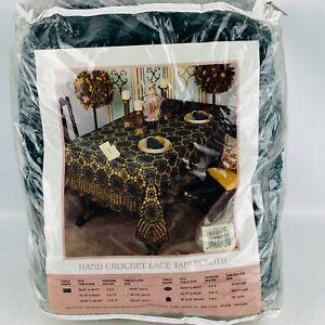 Vintage L. Kee Crochet Lace Tablecloth Dark Hunter Green 68 x 104 Oblong 1993