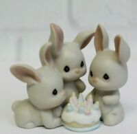 Precious Moments Birthday One More Year & More Grey Hares Porcelain 128686 1997