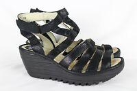 Fly London Women's Yeba Strappy Wedge Sandals Size 38/7 Black