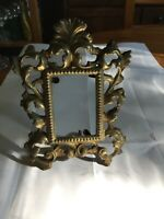 Picture Frame Antique Decorative Cast Metal with Stand on Back