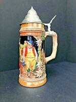 """W Germany Beer Stein Mug Tankard with lid VINTAGE Stoneware Gerzit GERZ 9.25"""""""