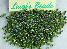 11/0 Round Toho Glass Seed Beads #1829- Rainbow Jonquil/Forest Green Lined 10g