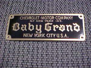 BABY GRAND Chevrolet New York body plate 1914