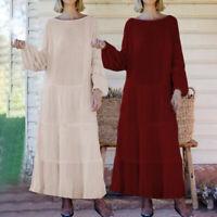 Plus Size Women Long Sleeve Maxi Long Loose Dress Solid Party Ruffle Shirt Dress