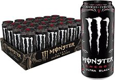 Monster Energy Ultra Black Sugar Free Energy Drink 16 Ounce Pack of 24