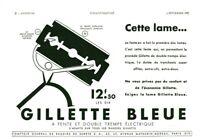 Publicité ancienne lame rasoir Gillette bleue 1937 issue de magazine
