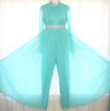 Vtg 60s Chiffon Palazzo Pleated Wide Leg Jumpsuit Dress Evening Party Xxs/Xs