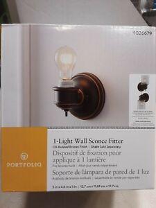 Portfolio 1-light Wall Sconce Fitter, Oil-Rubbed Bronze Finish 1026679