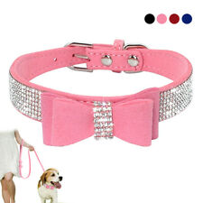 Clear Rhinestone Bowknot Dog Collars for Puppy Small Medium Breeds Dog Bow Tie