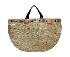 Marni Market Womens Large Flat Raffia Straw  Geometric Embroidered Tote Handbag