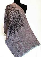 Brick Red White & Black Wool Shawl Paisley Jamavar Scarf Jamawar Wrap Pashmna