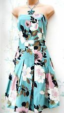 SIZE 12 STRAPLESS 50'S STYLE BANDAU  FLORAL SUMMER SUN DRESS LINED US 8 EU 40