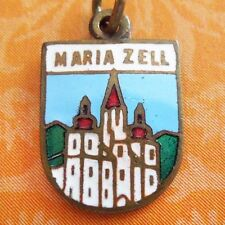 Vintage enamel MARIAZELL BASILLICA AUSTRIA SHIELD copper charm ~ pilgrimage site
