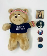 Vintage 80's BRUCE SPRINGSTEEN Born in the USA Plush Teddy Bear & Concert Pins!