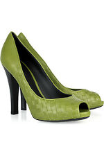 BOTTEGA VENETA Intrecciato OPEN TOE LEAF GREEN PUMP SHOE EU40.5 UK7.5 US10.5 NIB