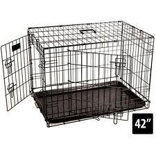 GABBIA per animali cane 42 Pollici Animale Crate casa pieghevole metallo 2 ANTE formazione Kennel