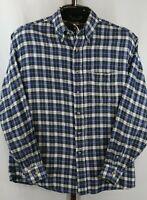 Van Heusen Mens Blue Plaid Long Sleeve Button Down Flannel Shirt Size Large