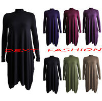 WOMENS LADIES TURTLE NECK LONG-SLEEVE SWING DRESS POLO NECK WATERFALL TOP DRESS