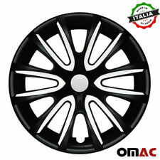 "15"" Wheel Rim Cover Hubcap Matte Black White For Ford Fiesta 4pcs Set"