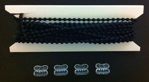 20ft. Black Plastic #10 Chain - With 4 Connectors - Blind Beaded Bead Ball