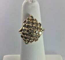 14K Solid Gold Diamond Cluster Ring 1 Tcw Size 4.5