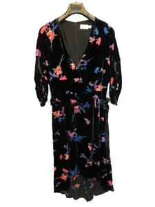Eliza J Size 14 Black Pink Purple Floral Velvet Dress Faux Wrap Midi V Neck Belt