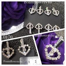 8 Single Small Grade A Diamante Silver Heart On Silver Pegs 18mm Card Making